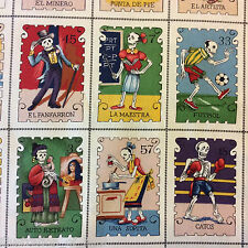 PNL91 Mexican Tarot Spanish Day of the Dead Skeleton Panel Cotton Quilt Fabric