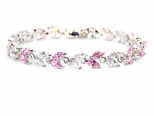 10kt White Gold Filled Pink Sapphire And White Topaz 7.82ct Bracelet