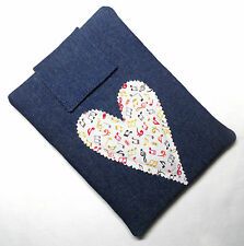 Handmade iPad mini & Kindle Fire case/cover/pouch. Denim and cotton. Valentines.