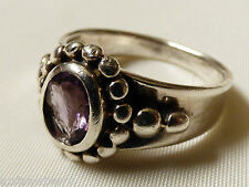 VTG ARTISAN  STERLING SILVER 925 PURPLE OVAL CUT AMETHYST STONE RING Size 9