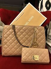 NWT MICHAEL KORS LEATHER SUSANNAH LARGE TOTE BAG + ASTRID WALLET IN DK KHAKI/GLD