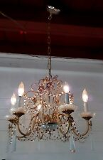 Vintage 60s Italian 6-Arm  Crystal Chandelier Sparkling Prisms draped crystals
