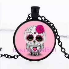 Pink Sugar Owl Photo Cabochon Glass Black Chain Pendant  Necklace
