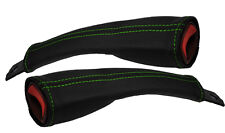 GREEN STITCH 2X SEAT BELT STALK LEATHER COVERS FITS CHRYSLER VOYAGER 96-00