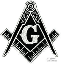 BLACK MASONIC LOGO EMBROIDERED PATCH iron-on FREEMASON SQUARE COMPASS MASON