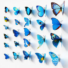 12pcs 3D Farfalle Adesivo ARTE MURALE PARETE PORTA Decalcomanie HOME DECOR-Blu