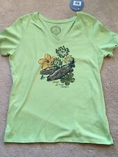 NEW Life Is Good Womens Small TShirt Fishing KEEP IT REEL VNeck s/s Lime Green
