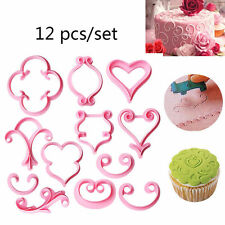 12Pcs/Set Easiest LACE Cutter Fondant Icing Sugarcraft Cake Decoration Tools