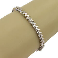 Estate 14K White Gold 3ct Diamond S Link Tennis Bracelet