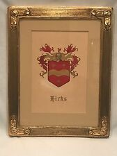 Hand Painted Hicks Coat of Arms by C W Davis in Gold Gilt Frame - HICKS