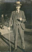 'To Ethel best wishes from Jack' Young man hat cane qq559
