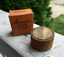 Hanson's Magic Corn Salve In Original Box & Wooden Container