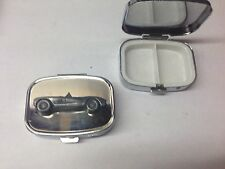 Chevrolet Corvette 1957 ref36 pewter effect car emblem on silver metal pill box