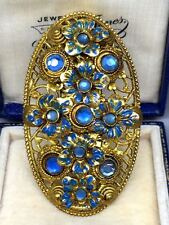 Large Vintage Czech Blue Dress Clip Brooch