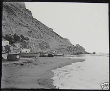 Glass Magic Lantern Slide CATALAN BAY C1910 PHOTO GILBRALTAR