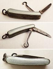 Petit canif miniature argent massif + émail vers 1910  pendentif tire-lacet