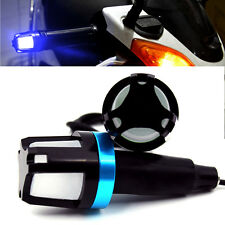2x Blue LED Handlebar End Plug Turn Signal Light Indicator For Motorcycle Bike