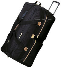 "30"" Black Polyester Rolling Duffle Wheeled Luggage Suitcase Travel Duffle Bag"