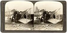 World war 1 Aeroplane accident wreck in France Stereocard 1915-18 S507