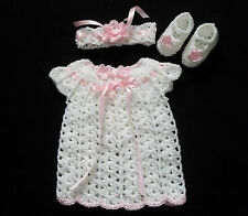 crochet white baby or reborn doll dress headband and mary janes handmade newborn