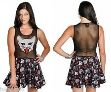 Too Fast Feisty Dress Kitty Rocks Cat Tattoo Sourpuss Mesh Skater Punk $55 Large