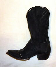 Sonora SN1045 Womens Size 10B Riley Western Cowgirl Boots BLACK ROUGH OUT NEW!