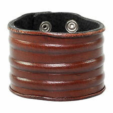 Men's Distressed Brown Leather Wide Cuff Bracelet by Urban Male