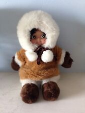 "Kipmik Alaskan Eskimo Souvenir 10"" Doll  Dressed In Faux Fur"