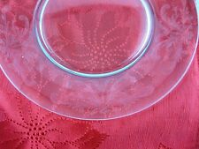 """Luncheon Dessert Salad 8-3/8"""" Plates Clear Crystal Rim Etched Feather Plume 8pcs"""