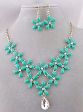 Necklace Earrings Set Turquoise Flowers Crystal Dangle Gold Fashion Jewelry NEW