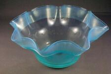 BEAUTIFUL HAND BLOWN VASELINE GLASS THREADED FINGER BOWL - PERFECT