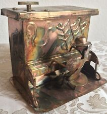 Vintage Berkeley Copper Metal Music Box Rustic It's A Small World Pianist Man