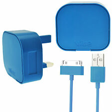 Genuine 3 Pin UK plug wall mains adapter + USB data cable for iPhone 3GS 4S iPod