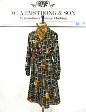 VINTAGE Brown Black ART FLORAL PRINT GEOMETRIC Belted MOD 60s 70s Party Dress L