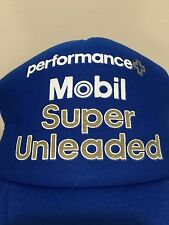 VINTAGE 80's MOBIL SUPER UNLEADED PERFORMANCE PLUS SNAPBACK TRUCKER HAT BLUE