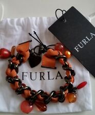 FURLA Italian Crystal Grosgrain Ribbon/Chunky Chain Burnt Orange Bracelet - NEW!