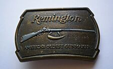 Vintage 1976 Remington Arms Company Solid Brass Belt Buckle 1816 Flintlock Rifle