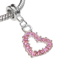 October Birthstone Pink Rhinestone Heart Bead for Silver European Charm Bracelet