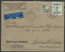 Netherlands Indies 2 Perfin MSP on cover to Germany 1933 Perfins Dutch