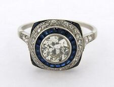 Stunning Art Deco .83 Center Diamonds Sapphires Platinum Ring