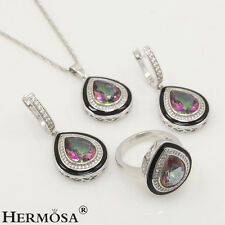 75% OFF NEW 925K Sterling Silver Drop Fire Mystic Topaz Turkish Jewelry Set Sz.8