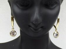14kt Yellow Gold Earrings, Dangling, Leverback Round Cubic Zirconia Earrings
