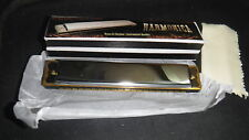BRASS & CHROME INSTRUMENT QUALITY 20 NOTE HARMONICA WITH BOX 6 INCHES NEW