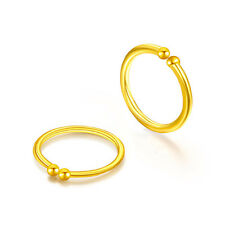 New Solid 24k Yellow Gold Hoop Earrings Small Earrings 0.41g Each one