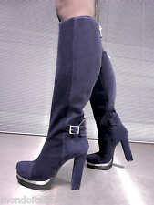 MORI ITALY PLATFORM HEELS KNEE HIGH BOOTS STIEFEL STIVALI SUEDE LEATHER BLUE 36