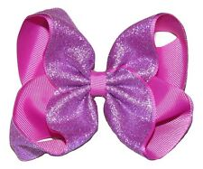 "NEW ""SHIMMERY PURPLE"" Sparkly Hairbow Alligator Clips Girls Ribbon Bows 5 Inch"