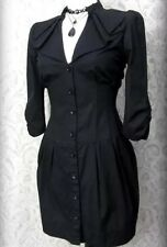 Victorian Goth Black High Collar Ruffle Corset Shirt Dress 10 Steampunk Mistress