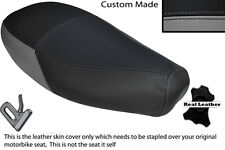 GREY & BLACK CUSTOM FITS PIAGGIO VESPA ET2 ET4 125 DUAL LEATHER SEAT COVER