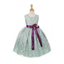 Elegant Satin Ribbon Replaceable Sash Floral Bouquet Lace Flower Girl Dress