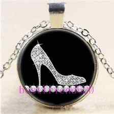 Diamond High Heel Shoe Cabochon Glass Tibet Silver Chain Pendant Necklace